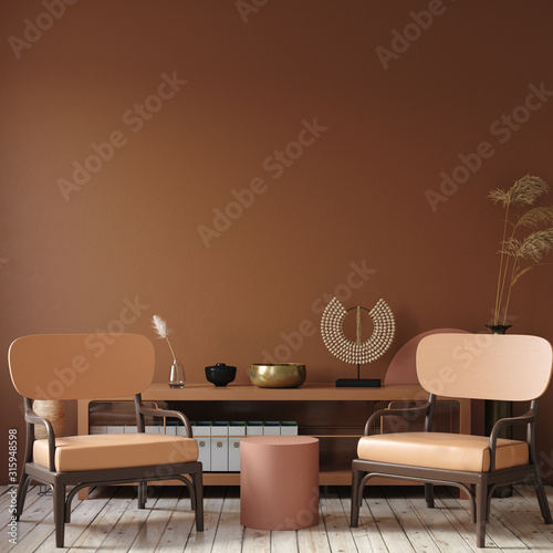 Obraz Modern dark interior with commode, chair and decor in terracotta colors, 3d render - fototapety do salonu