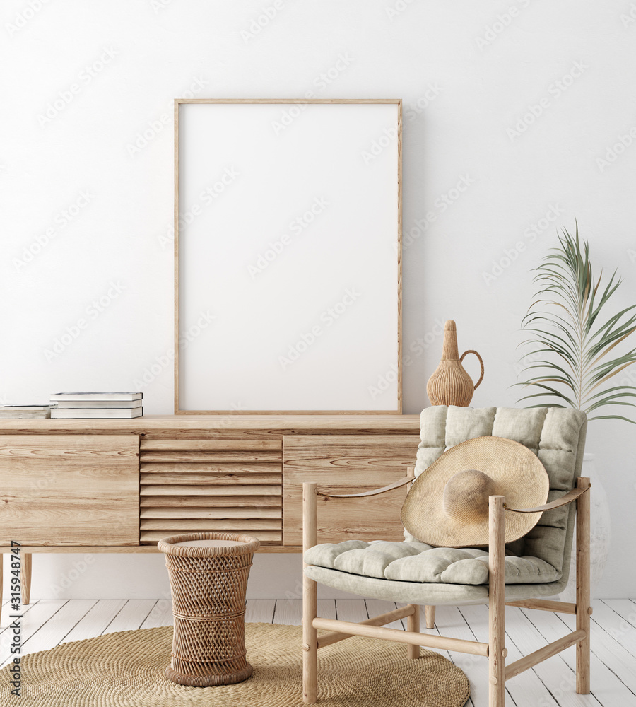 Fototapeta Mock up frame in home interior background, white room with natural wooden furniture, Scandi-Boho style, 3d render