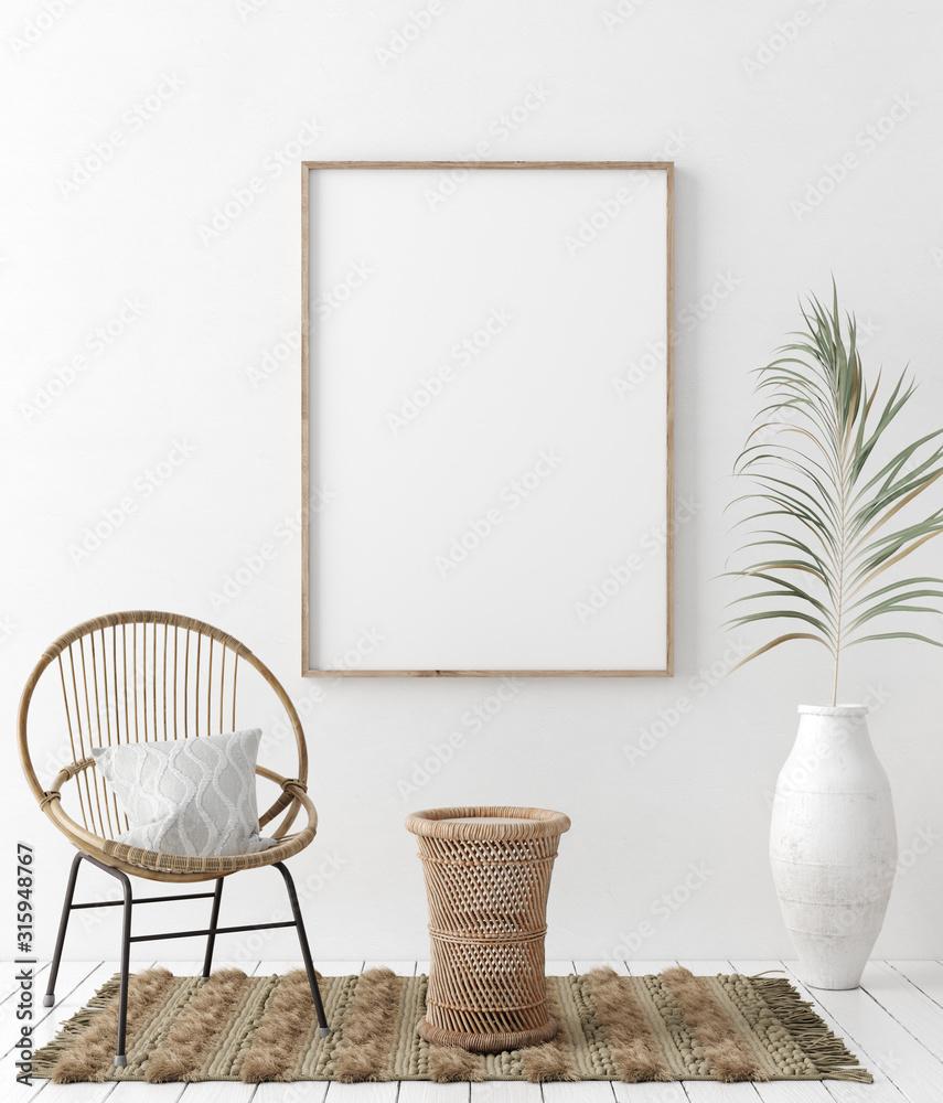 Fototapeta Mock up frame in home interior background, white room with natural wooden furniture, Scandi-Boho style, 3d render