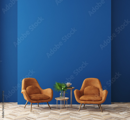 Modern home interior in trendy colors of the Year 2020, 3d render Fototapete