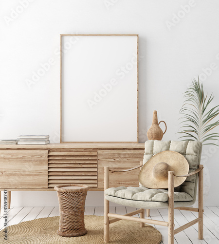 Fototapeta Mock up frame in home interior background, white room with natural wooden furnit