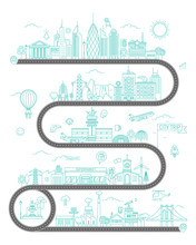 Road Map, Flat Design Vector Illustration, With Landscape, Houses And Traffic On The Street