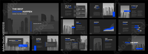 Fototapeta Powerpoint presentation templates set for business and real estate. Use for keynote presentation, brochure design, website slider, landing page, annual report, company profile, social media banner. obraz
