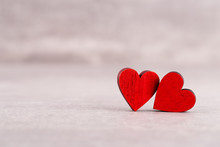 Red Hearts On Grey Background....