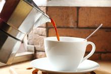 Moka Pot And Pouring Coffee