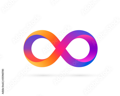 Stampa su Tela Infinity symbol with color gradient, colored icon.