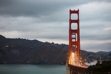 The Golden Gate Bridge Traffic In The Evening In San Francisco, California.