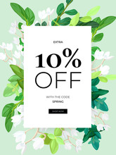 Spring Floral Eco Design With White Lily Flowers, Green Leaves, Succulent Plants And Integrated 3d Typography. Vector Template For Sale Promo Poster, Flyer, Banner Or Card. Illustrated Background With