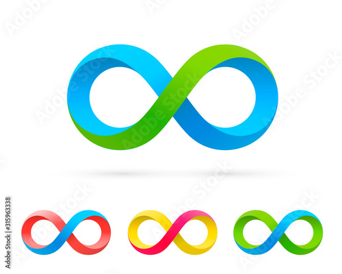 Stampa su Tela Symbol of infinity art info, color set collection.