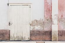 House Grunge Facade Pink White Wooden Door