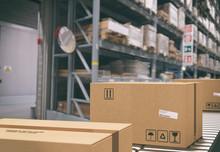 Cardboard Boxes On Conveyor Ro...