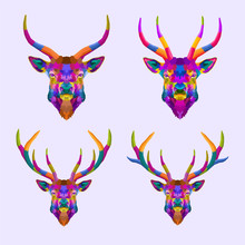 Colorful Set Deer Pop Art Port...