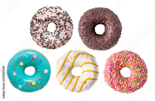 фотография Set of various colorful donuts isolated on white background.