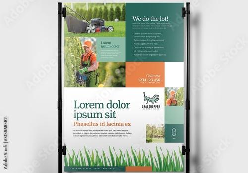 Fototapeta Landscaping Gardener Poster Banner Layout obraz