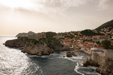 A View Of Dubrovnik Port While Climbing The City Walls.