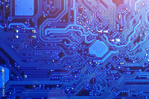 Foto blue circuit board background of computer motherboard,Electronic computer hardware technology