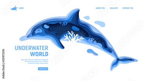 Photo Underwater world page template with dolphin silhouette