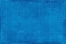 Blueprint Grid Paper. Slightly Stained And Damaged Paper Texture With A Square Grid Pattern, A Blank Background For Technical Drawings