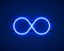 Infinity Neon Symbol On The Bl...
