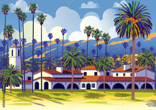 Valokuvatapetti Californian cityscape with palm trees, houses and mountains in the background