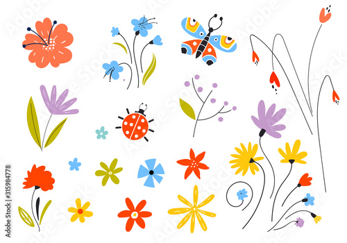 Obraz Set of vector multicolored spring flowers. Decorative easter elements in a flat style. Leaves of branches and plants. Floral elements. - fototapety do salonu