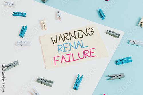 Photo Handwriting text writing Warning Renal Failure