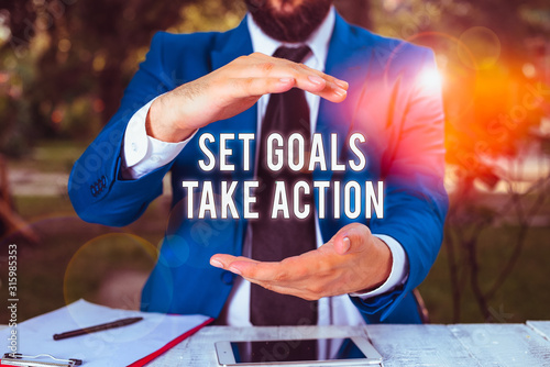 Conceptual hand writing showing Set Goals Take Action Canvas Print