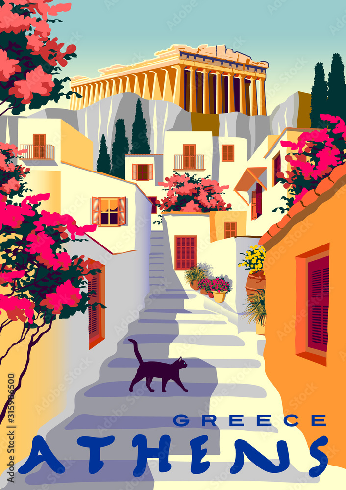 Fototapeta Summer cityscape with traditional houses and Acropolis in Athens, Greece.