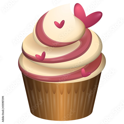 Romantic and sweet cupcake