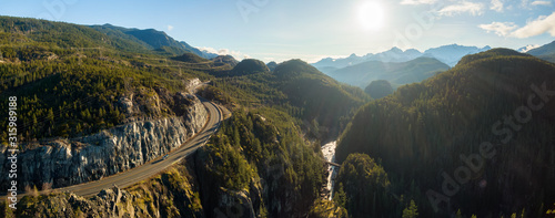 Aerial Panoramic View of the Famous Scenic Drive, Sea to Sky Highway, during a sunny evening before sunset. Located between Squamish and Whistler, North of Vancouver, British Columbia, Canada.