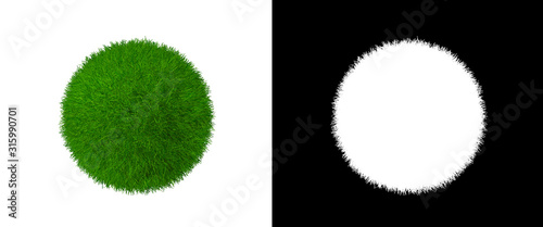 Photo Grass Ball Isolated Element Design - Grassy Clew Texture with Alpha Channel - He