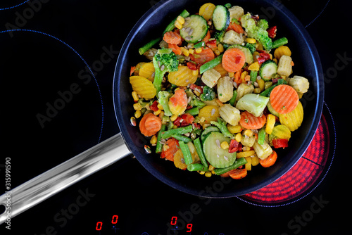 Vegetables in a pan- Preparing food. #315991590
