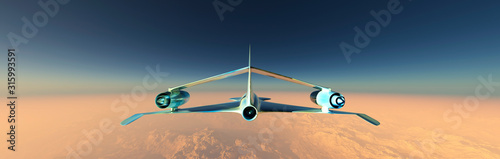 airplane prototype furrowing the sky Wallpaper Mural