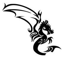 Tattoo Of  A Dragon Isolated O...