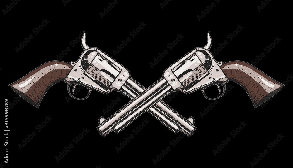 Fototapeta Hand drawn revolvers vector illustration. Crossbones guns. Vintage illustration.
