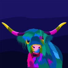 Colorful Buffalo Pop Art Portrait,can Be Used To Design For T-shirt, Card, Poster, Invitation. Vector Illustration