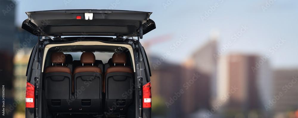 Fototapeta passenger minivan car for transportation office staff to work