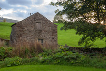 View Of A Derelict Cottage In The Yorkshire Dales With Overgrown Cottage Garden On A Cloudy Day