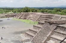 Pyramid Of The Sun And Square Surrounded By Platforms, In Teotihuacan, Mexico