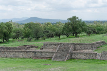 Grass-covered Pre-Hispanic Mesoamerican Platforms In Teotihuacan, Mexico