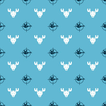 Set Hunt On Duck With Crosshairs And Moose Head With Horns On Seamless Pattern. Vector