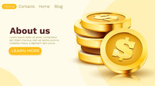 Stack Of Golden Dollar Coins Isolated On White Background. Make Money Online Concept. Landing Page Template.