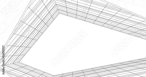 Fototapety, obrazy: Abstract modern architecture building 3d illustration