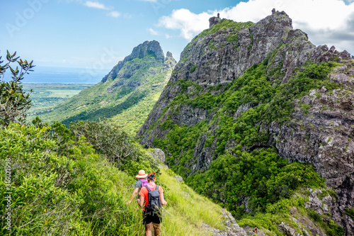 Obraz Walking in Trois Mamelles mountains in central Mauritius tropical island - fototapety do salonu
