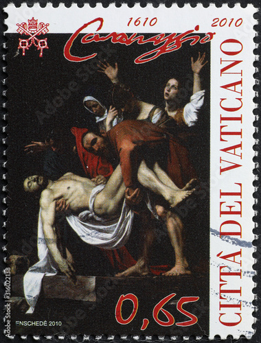 Fotografie, Obraz  Masterpiece by Caravaggio on stamp of Vatican City