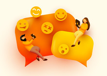 Small People Flying Around Chat Bubbles And Emoji Signs. Talking Couple. Online Messenger Concept.