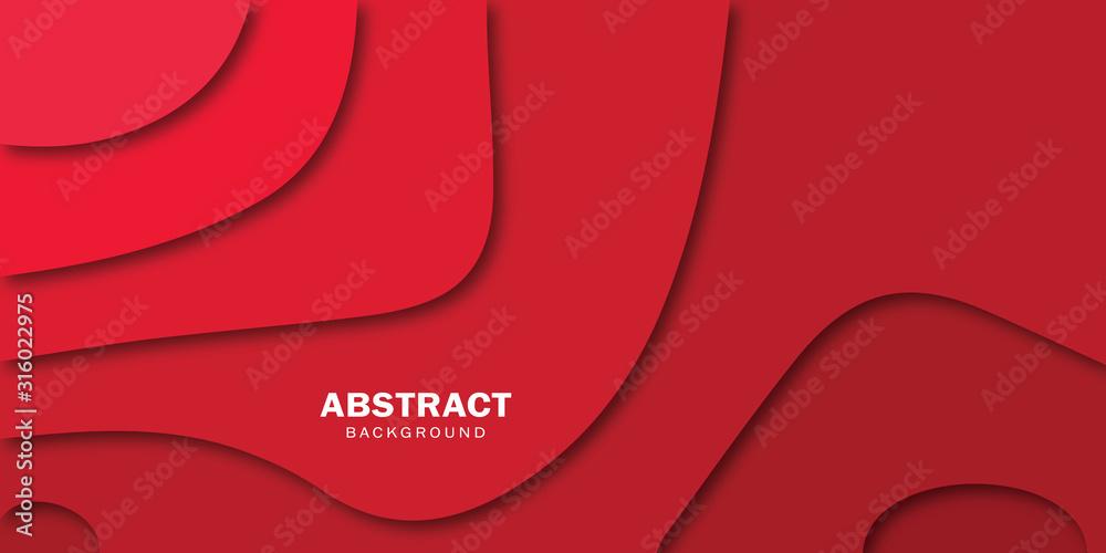 Fototapeta Modern 3d paper cut art shapes red background.