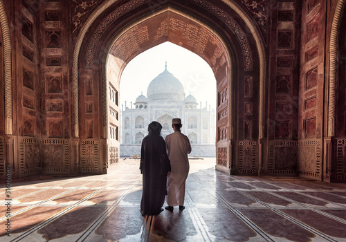 India. Taj Mahal Indian palace. Islamic architecture. Door to the mosque
