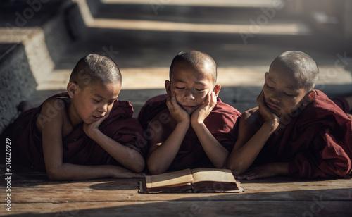 Fototapeta Novice monk reading book,in monastery, Bagan, Myanmar obraz