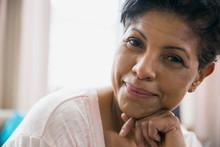 Close Up Portrait Of Confident Woman